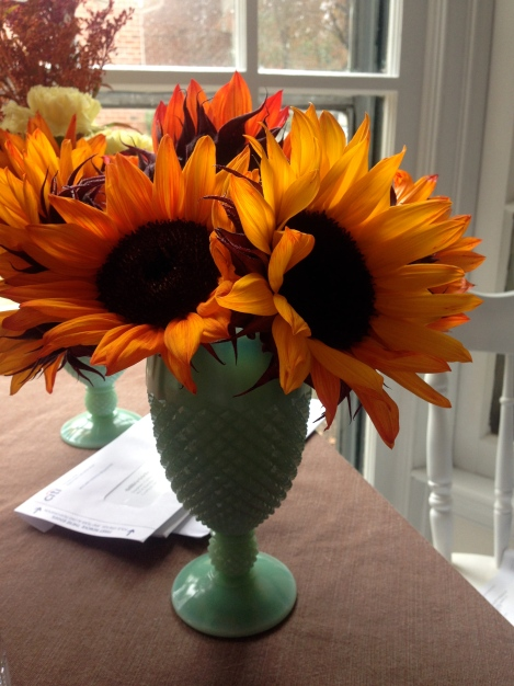 Sunflowers and Jadeite Milk Glass